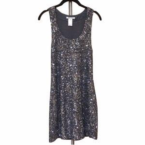 Alice and Olivia Silver Gray Metallic Sequin Dress